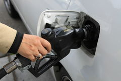 Person Pumping Gas Royalty Free Stock Image