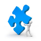 Person push puzzle Stock Photo