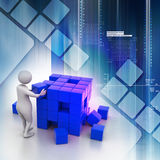 Person pushing a cube Stock Photography
