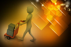 Person pushing hand trolley with box full of envelopes Royalty Free Stock Images