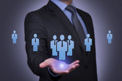 Person pushing hologram of human resource icon royalty free stock photography