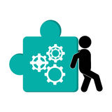 Person pushing puzzle piece with gears icon. Flat design person pushing puzzle piece with gears icon illustration stock illustration