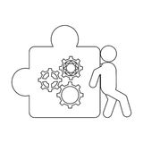 Person pushing puzzle piece with gears icon. Flat design person pushing puzzle piece with gears icon illustration royalty free illustration