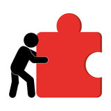 Person pushing puzzle piece icon. Flat design person pushing puzzle piece icon illustration stock illustration