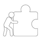 Person pushing puzzle piece icon. Flat design person pushing puzzle piece icon illustration vector illustration