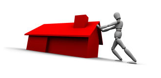 Person Pushing Red House Stock Images