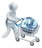 Person pushing trolley with globe Stock Photography
