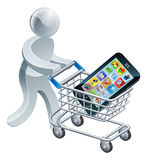 Person pushing trolley with mobile phone Royalty Free Stock Photo