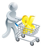 Person pushing trolley with percentage sign Stock Photo