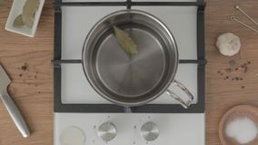 Top view hand puts bay leaf in metal pan with water on stove. Person puts bay leaf in metal pan with water on bright kitchen stock footage