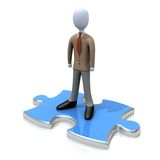 Person On Puzzle. Computer generated image - Person On Puzzle Royalty Free Stock Photos