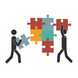 Person with puzzle game pieces isolated icon. Vector illustration design Stock Photo