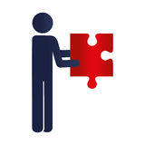 Person with puzzle game pieces isolated icon. Vector illustration design Royalty Free Stock Photos