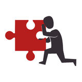 Person with puzzle pieces game icon. Illustration design Stock Image