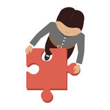 Person with puzzle pieces game icon. Illustration design Stock Photo
