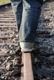 Person on a railway track Stock Photography