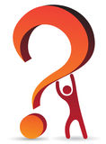Person raising question mark Stock Images