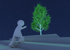 Person reaching towards an abstract tree Royalty Free Stock Images