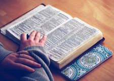 Person Reading Bible on Brown Table Royalty Free Stock Image