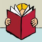 Person reading a big red book Stock Photos
