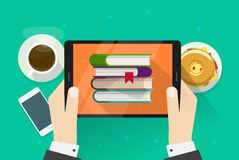 Person reading electronic books on tablet vector illustration, flat cartoon hands holding digital e-reader device with Royalty Free Stock Photo