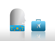 Person ready for holiday. Abstract illustration of man or person in Hawaiian shirt with holiday or vacation suitcase with aircraft; gradient white background Royalty Free Illustration
