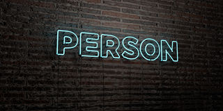 PERSON -Realistic Neon Sign on Brick Wall background - 3D rendered royalty free stock image Royalty Free Stock Photography
