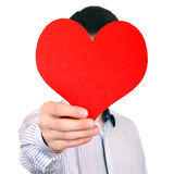 Person with Red Heart Shape. Person hold Red Heart Shape on the White Background Stock Photos