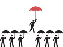 A person with red umbrella is picked. Picking a person with red umbrella Royalty Free Stock Photography