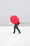 Person with red umbrella Royalty Free Stock Photo