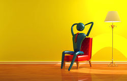 Person relaxing in yellow interior Royalty Free Stock Photography