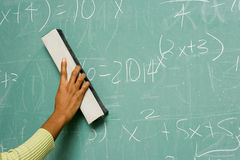 Person removing formulas from the blackboard Royalty Free Stock Image
