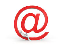 Person rests on the email symbol Royalty Free Stock Photo