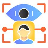 Person retina recognition flat icon. User eye identification color icons in trendy flat style. Biometric access open. Gradient style design, designed for web stock illustration