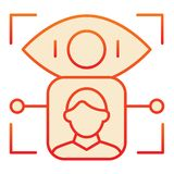 Person retina recognition flat icon. User eye identification red icons in trendy flat style. Biometric access open. Gradient style design, designed for web and stock illustration