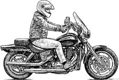 Person rides a motorcycle Stock Image