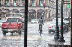Person Riding a Bicycle during Rainy Day Stock Image