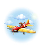 A person riding on a plane Royalty Free Stock Photo