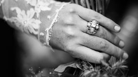 Person With Ring and Lace Mesh Hand Accessory Stock Image