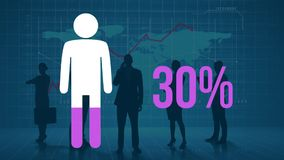 Person and rising percentage filling in pink with silhouetted people and world map