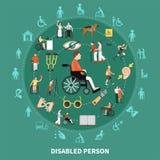 Person Round Composition handicapé illustration stock