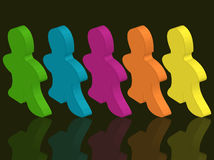 Person in a row Royalty Free Stock Photos