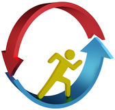 Person running in cycle arrows. Person gets nowhere running in vicious cycle treadmill or job arrows Stock Photo