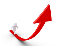 Person is running on a rising graph. 3d person is running on an arrow that is going upwards Royalty Free Stock Photos