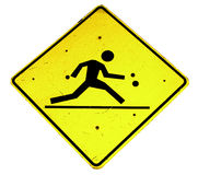 Person running sign. Yellow diamond shaped warning sign with silhouetted person running, isolated on white background Stock Images