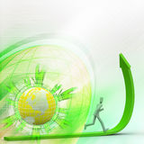 Person running up green rising arrow. 3d person running up green rising arrow Stock Images