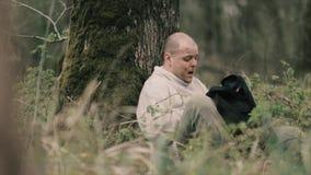 Person Runs Through The Woods video d archivio