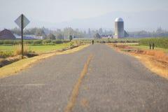 Person on Rural Washington Road Stock Photo