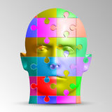 A person`s face consists of a multi-colored puzzle. Vector illustration of a logical task Stock Photos