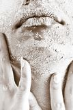 Person's Face Covered With White Powder Royalty Free Stock Image